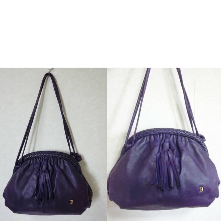 Bally Vintage Bally Deep Purple, Violet Leather Pouch, Clutch Style Shoulder Bag