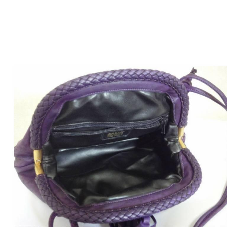 Vintage BALLY deep purple, violet leather pouch, clutch style shoulder bag. For Sale 3