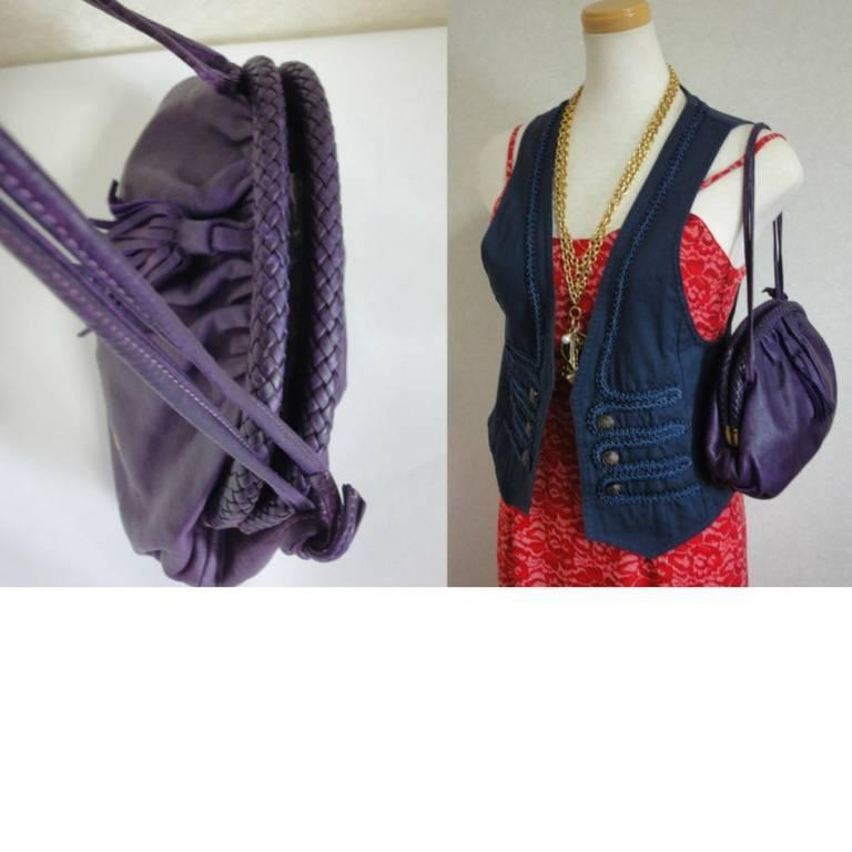 Vintage BALLY deep purple, violet leather pouch, clutch style shoulder bag. For Sale 5