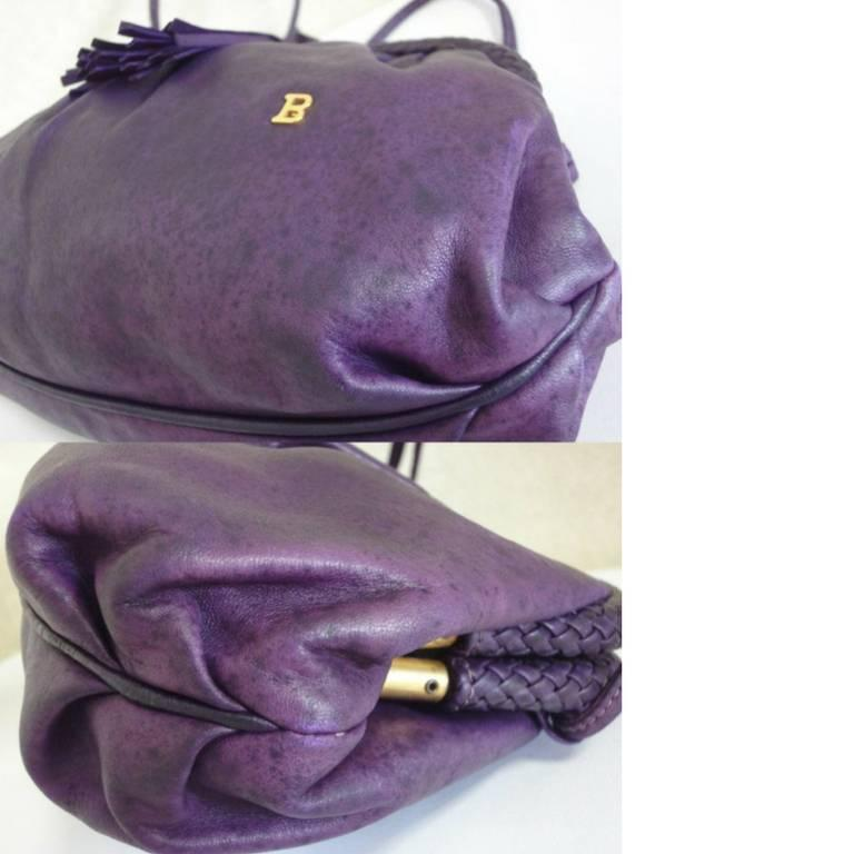 Vintage BALLY deep purple, violet leather pouch, clutch style shoulder bag. For Sale 1