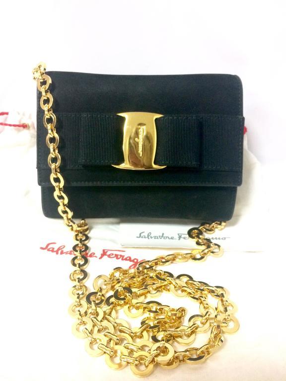 Vintage Salvatore Ferragamo Black Shoulder Mini Bag With