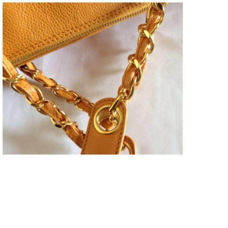 Vintage CHANEL orange yellow caviar leather chain shoulder large tote bag. 9