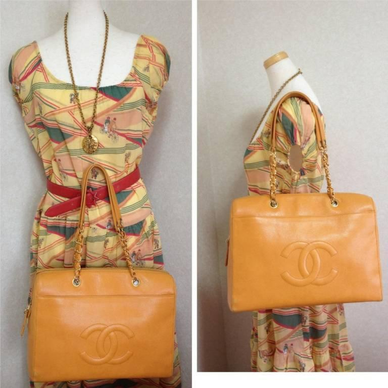 Vintage CHANEL orange yellow caviar leather chain shoulder large tote bag. 10