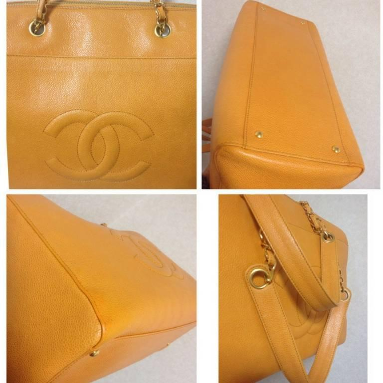 Vintage CHANEL orange yellow caviar leather chain shoulder large tote bag. 5