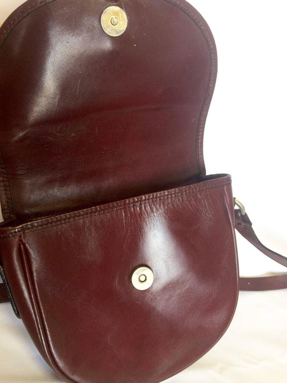 Vintage Burberry Wine Leather Mini Pouch Shoulder Bag With