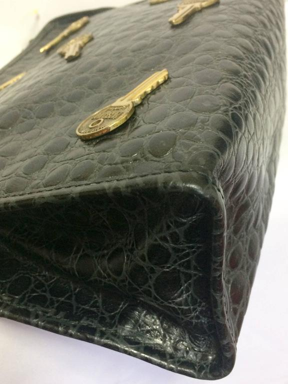 Vintage MOSCHINO classic croc-embossed black leather clutch bag with key logo 7