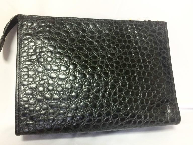 Vintage MOSCHINO classic croc-embossed black leather clutch bag with key logo 3