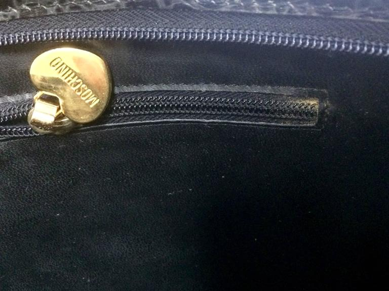 Vintage MOSCHINO classic croc-embossed black leather clutch bag with key logo 9