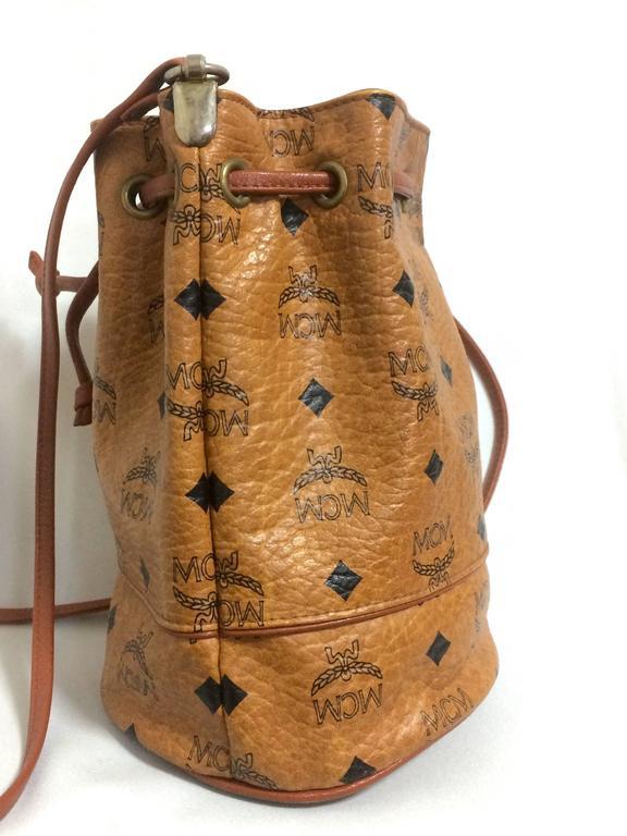vintage mcm brown monogram small hobo bag mini