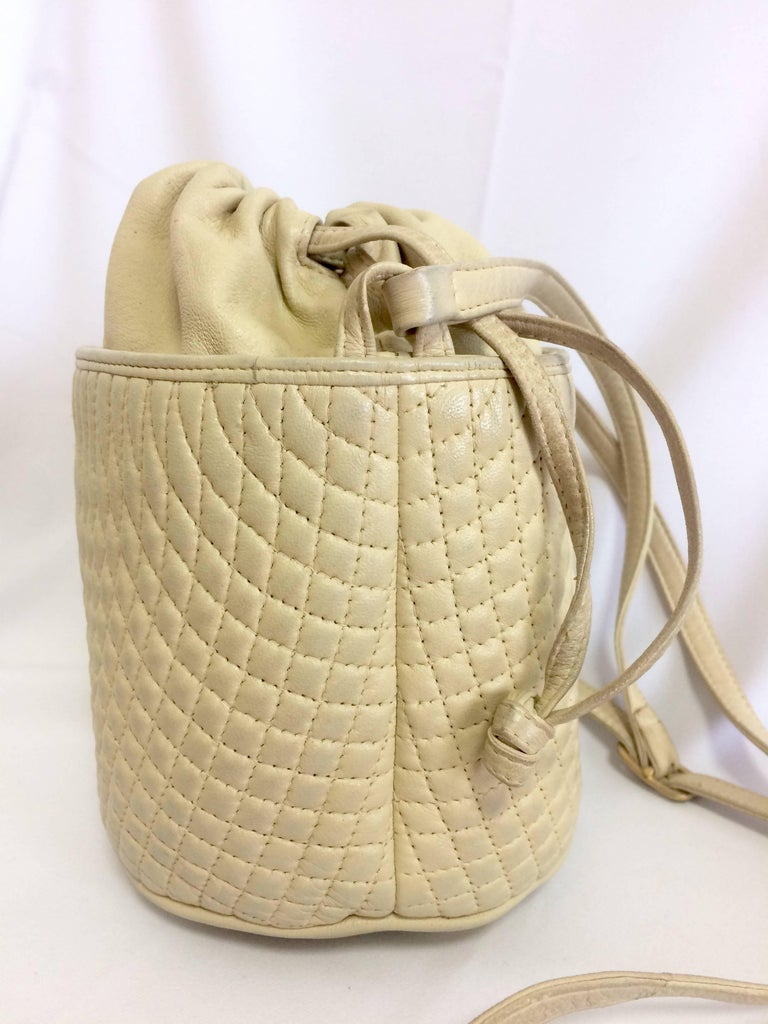 Vintage Bally Ivory White Quilted Lambskin Mini Hobo Bucket Shoulder Bag For Sale At
