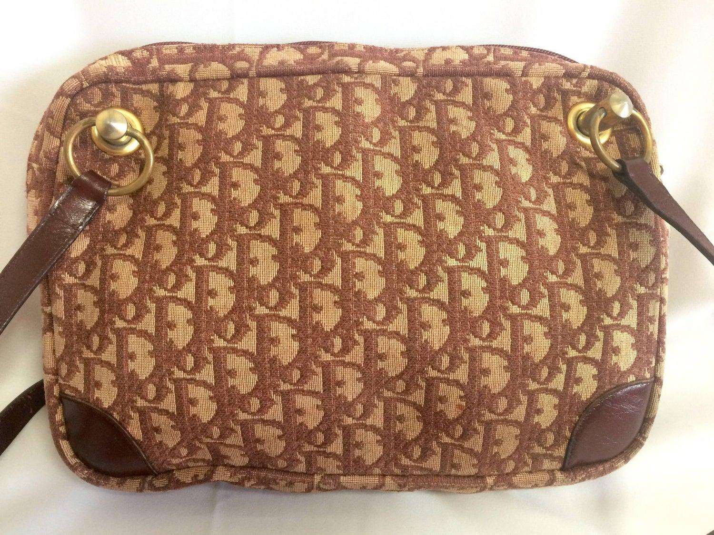 Dior 70s Vintage Christian Dior Wine Trotter Jacquard Handbag With Large Cd Motif RWhN2Q8QOM