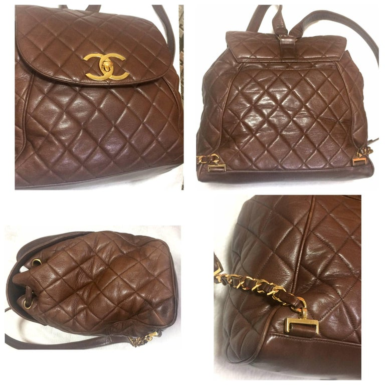 Vintage CHANEL quilted brown lamb leather backpack with gold chain and large CC. 5