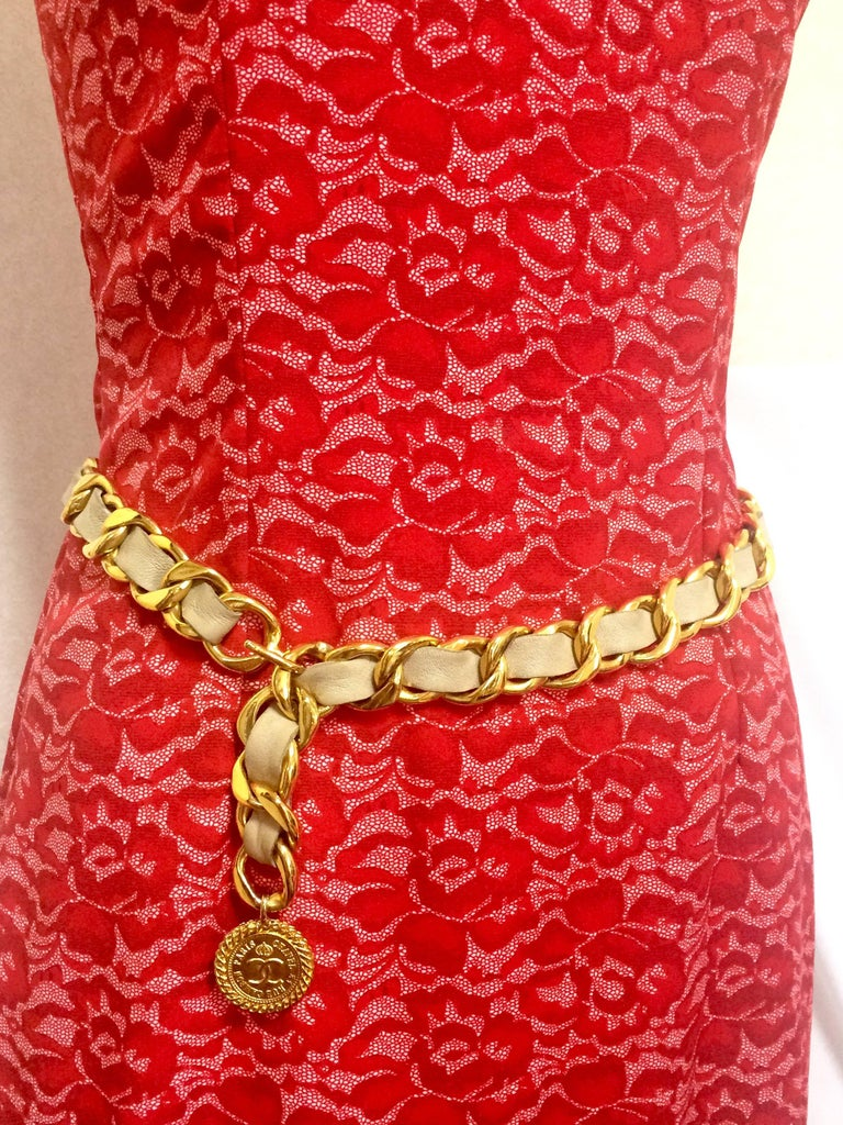 1980's Vintage CHANEL beige leather thick chain belt with golden CC and mademoiselle charm. Nice and heavy single layer chain belt from CHANEL.  ***Double layer version is also for sale. Please see in shop.***  Introducing a nice and heavy beige