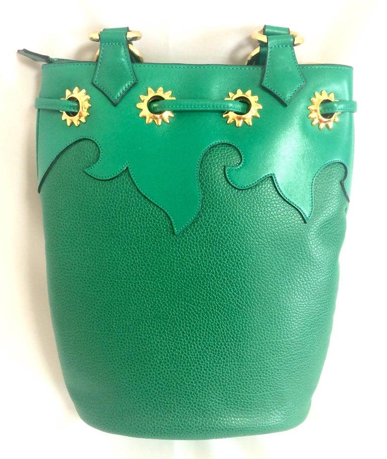 Green Vintage Christian Lacroix green hobo bucket shoulder bag with golden star motifs For Sale