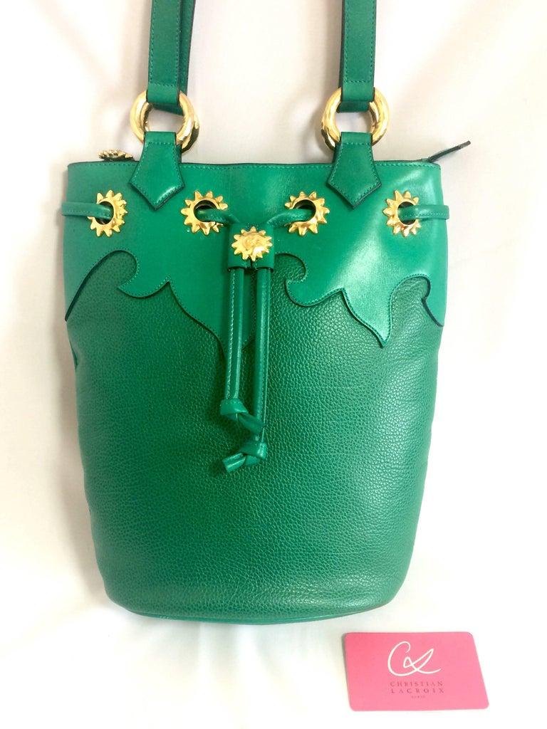 Vintage Christian Lacroix green hobo bucket shoulder bag with golden star motifs For Sale 5