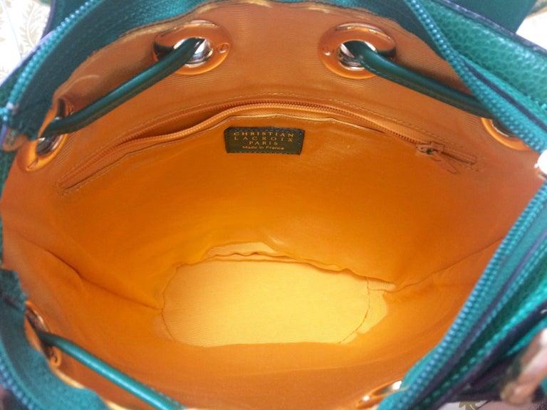 Vintage Christian Lacroix green hobo bucket shoulder bag with golden star motifs For Sale 2