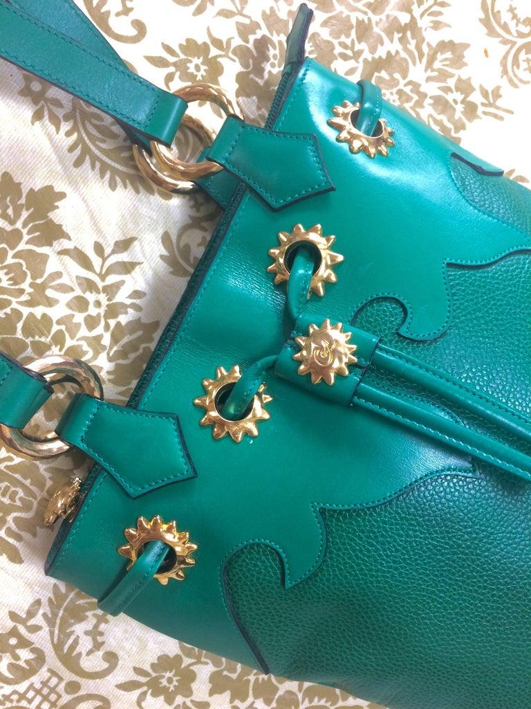 Women's Vintage Christian Lacroix green hobo bucket shoulder bag with golden star motifs For Sale