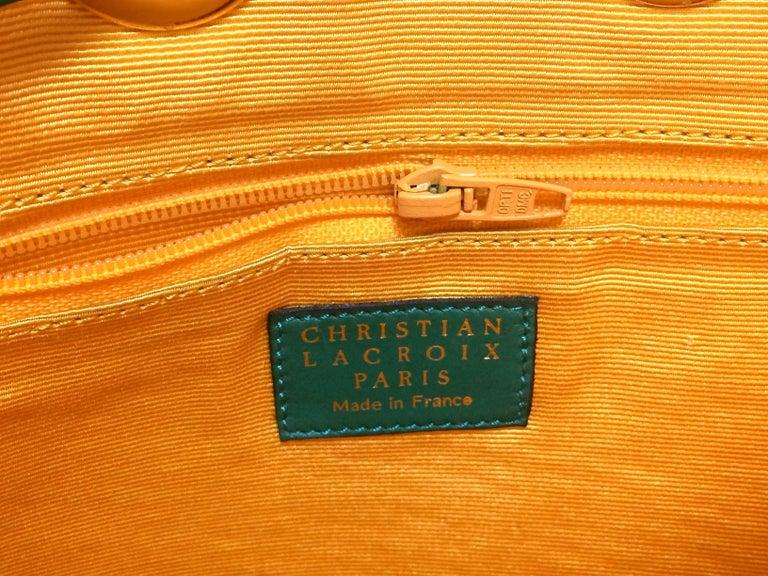 Vintage Christian Lacroix green hobo bucket shoulder bag with golden star motifs For Sale 3