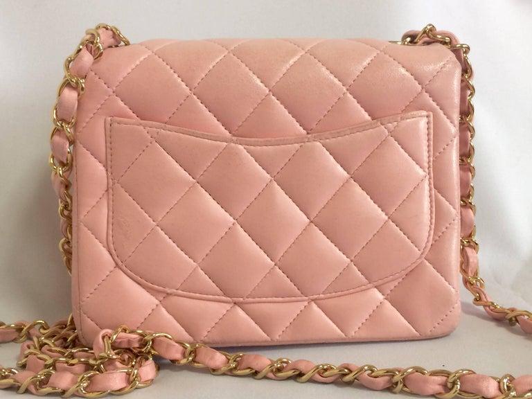 Beige Vintage CHANEL pink lamb leather classic flap chain mini 2.55 shoulder bag. For Sale