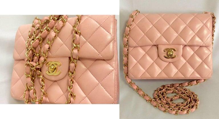Vintage CHANEL pink lamb leather classic flap chain mini 2.55 shoulder bag. For Sale 3