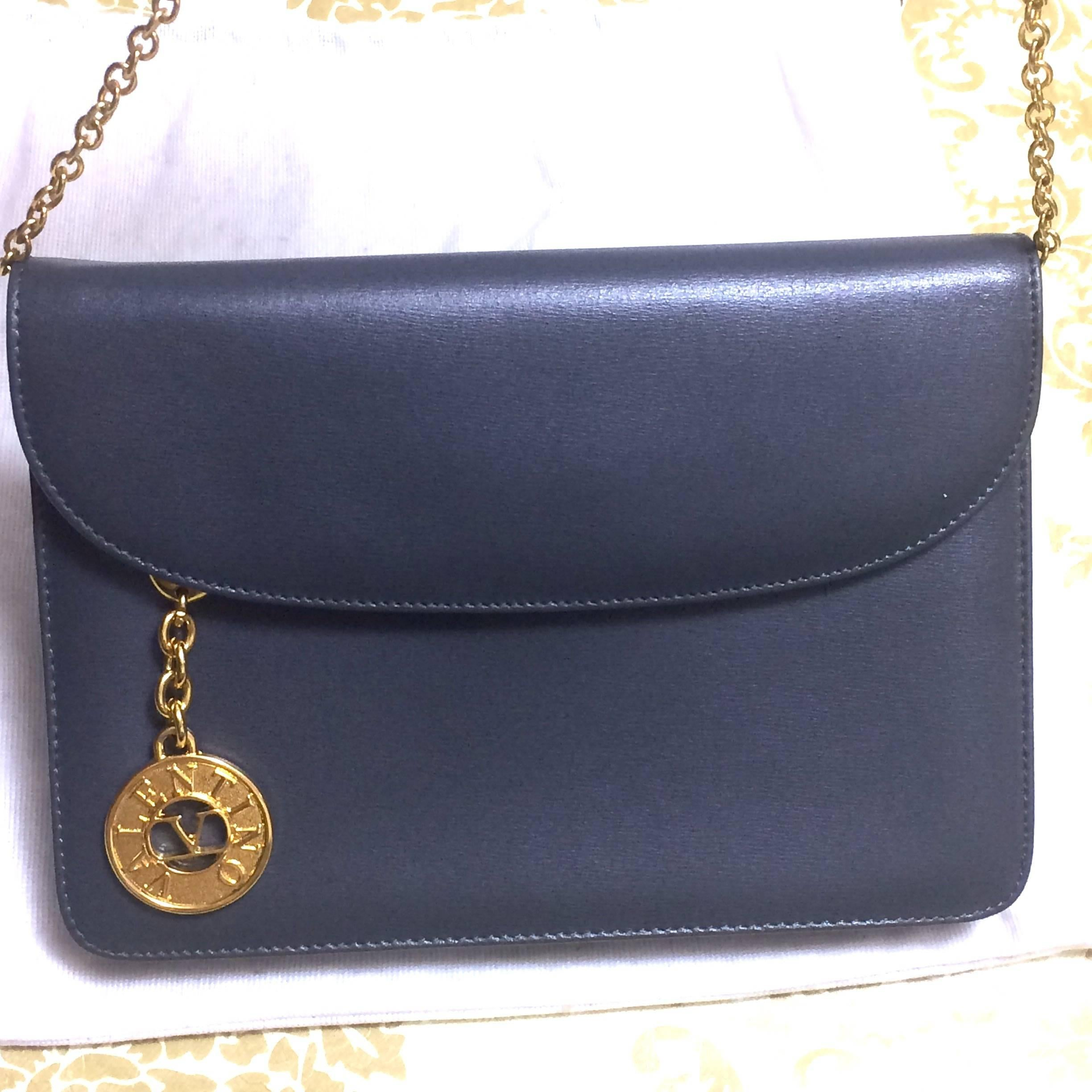 Valentino Vintage Valentino Garavani, Gray Leather Chain Shoulder Bag With Golden V Charm