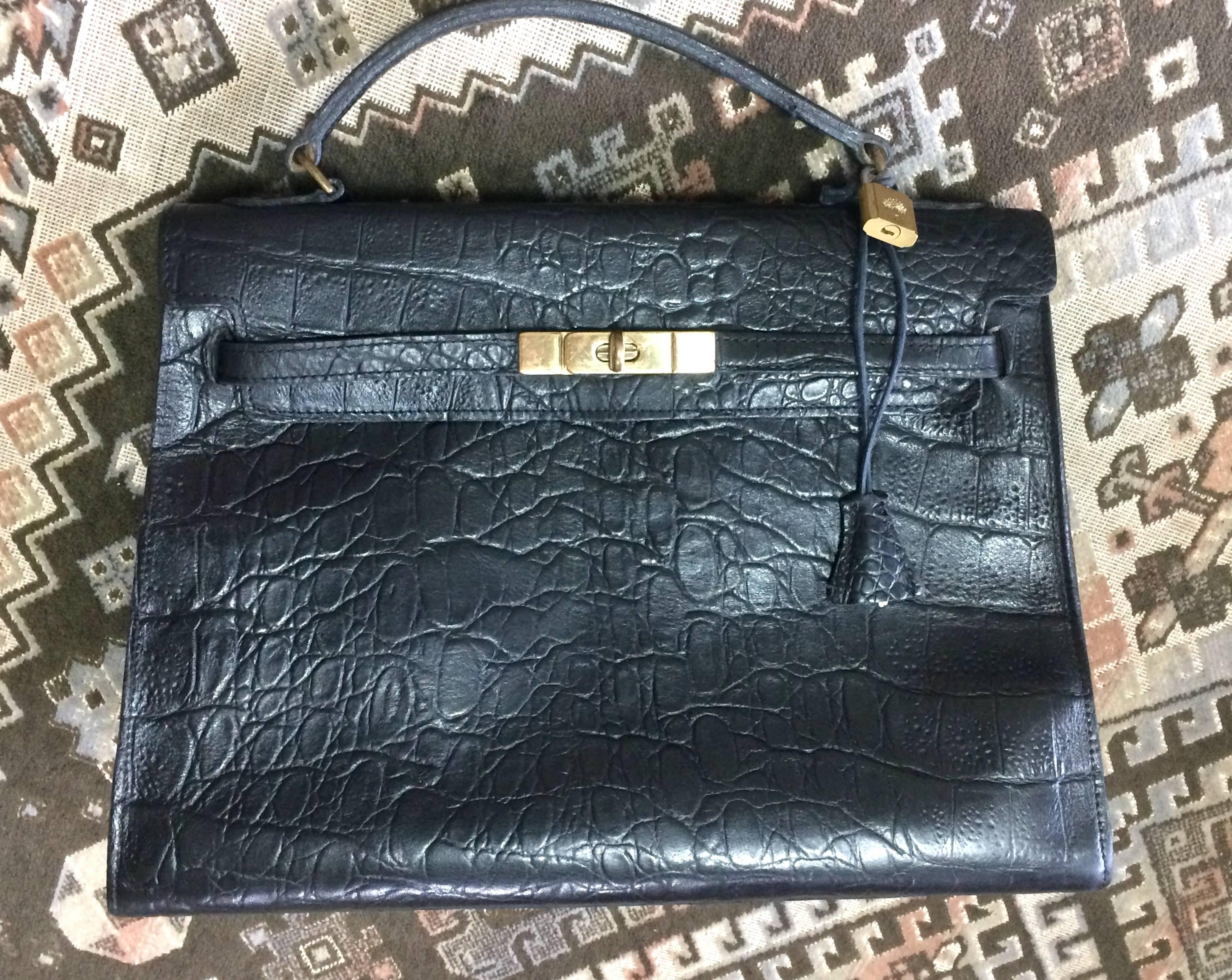c34d62f900b5 ... brown 60496 fd877 sweden vintage mulberry croc embossed black leather  kelly bag. classic handbag from roger saul d41f8 ...