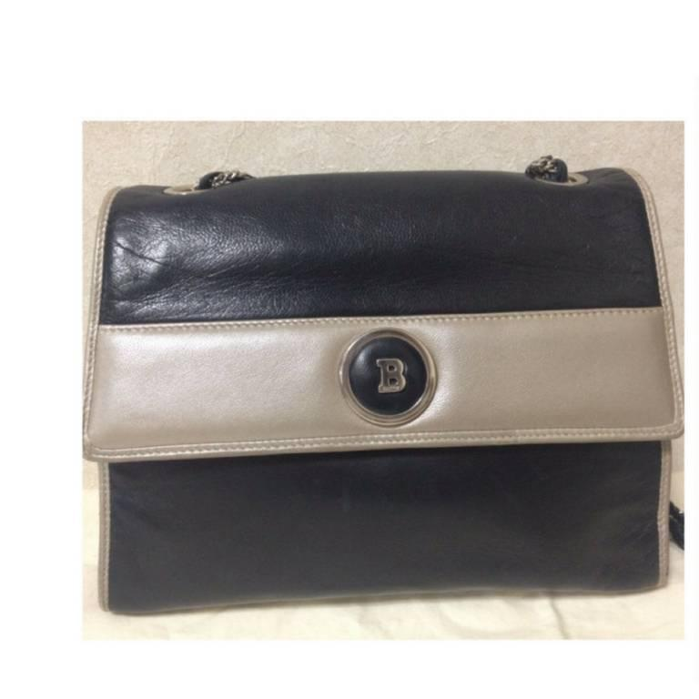 Bally Vintage Bally Black And Pearl White Color Lamb Leather Silver Chain Shoulder Bag 3TYh8YmAw