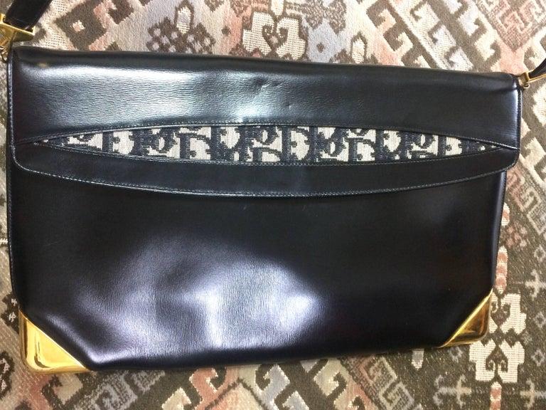 Black Vintage Christian Dior black leather large clutch, shoulder bag with trotter. For Sale