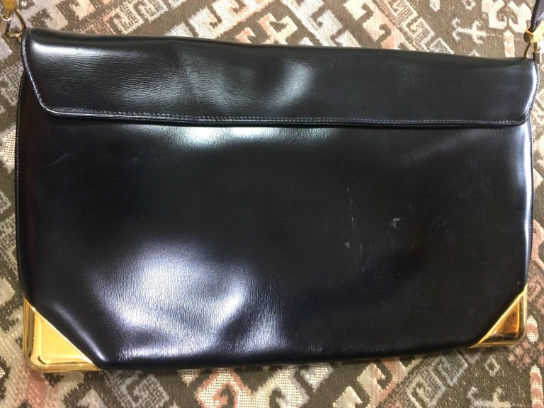 Vintage Christian Dior black leather large clutch, shoulder bag with trotter. In Good Condition For Sale In Kashiwa, Chiba
