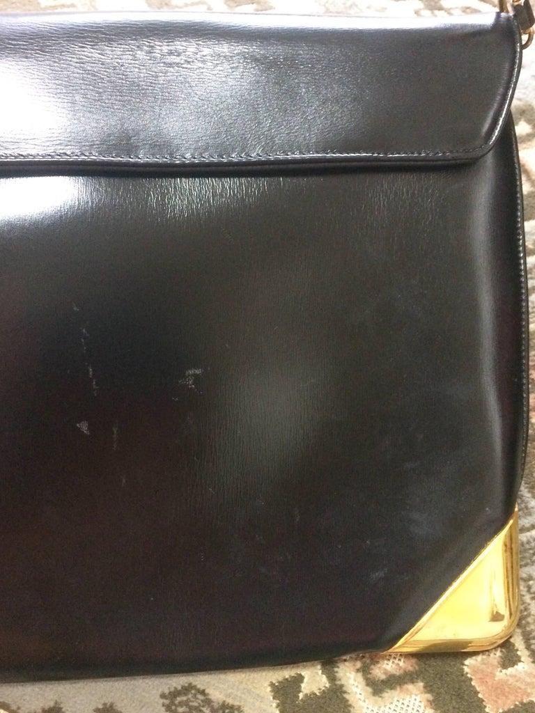Women's Vintage Christian Dior black leather large clutch, shoulder bag with trotter. For Sale