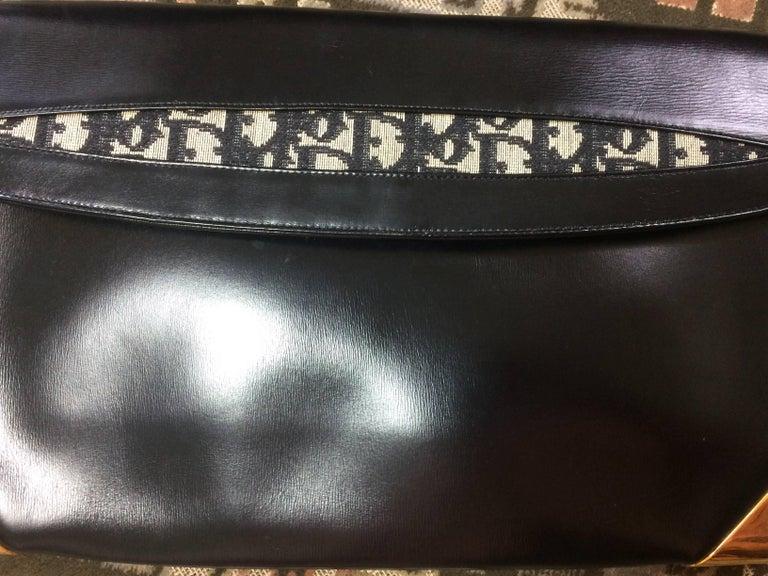 Vintage Christian Dior black leather large clutch, shoulder bag with trotter. For Sale 1