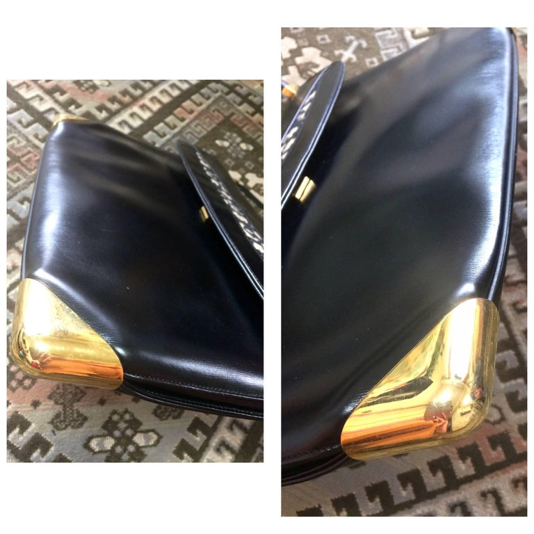 Vintage Christian Dior black leather large clutch, shoulder bag with trotter. For Sale 2