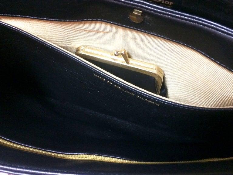 Vintage Christian Dior black leather large clutch, shoulder bag with trotter. For Sale 4
