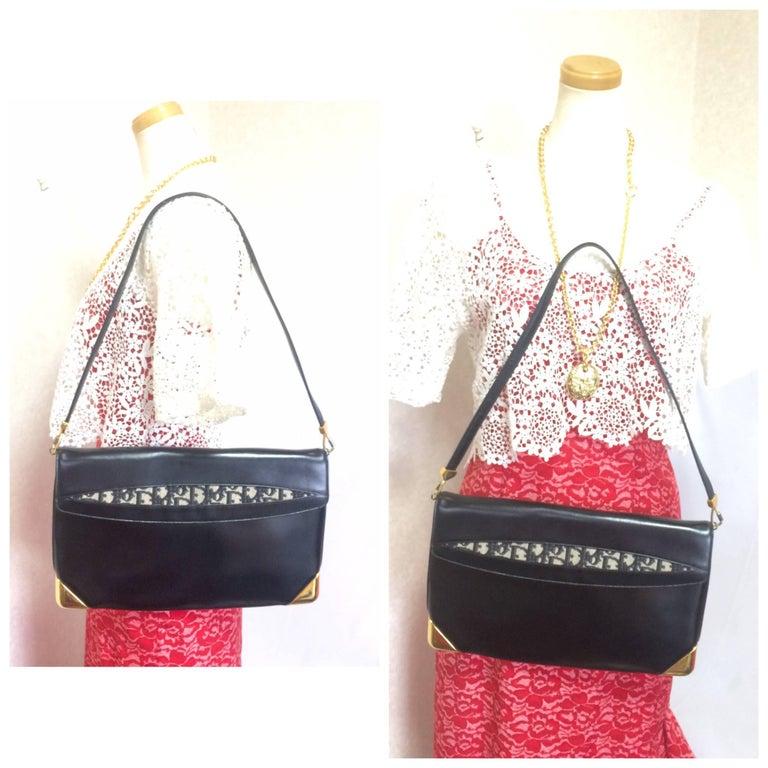 Vintage Christian Dior black leather large clutch, shoulder bag with trotter. For Sale 5