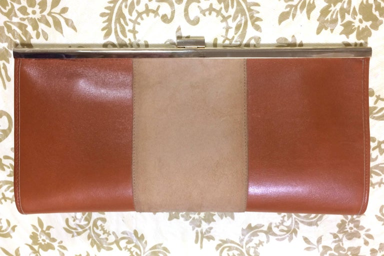 Brown Vintage Christian Dior beige suede and tanned brown leather clutch purse For Sale