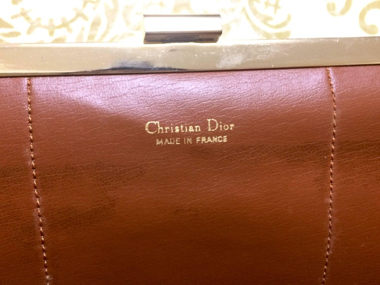 Vintage Christian Dior beige suede and tanned brown leather clutch purse For Sale 4