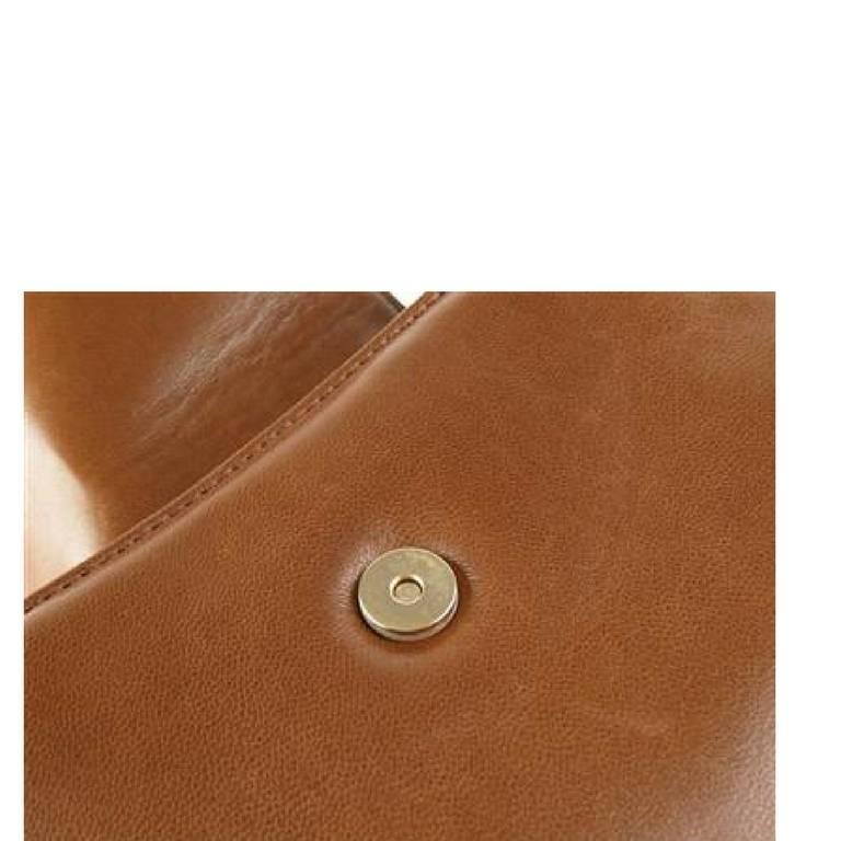 Dior Vintage Christian Dior Brown Leather Double Flap Clutch Bag, Pouch. Unisex Bag