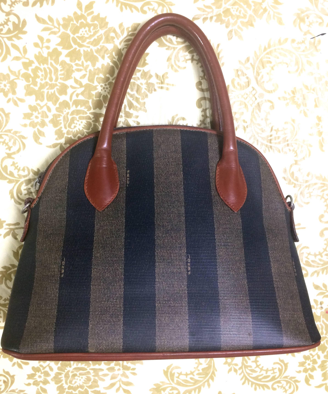 Fendi Vintage Fendi Black And Grey Pecan Stripe Bolide Shape Bag With Brown Handles ddnYvnM