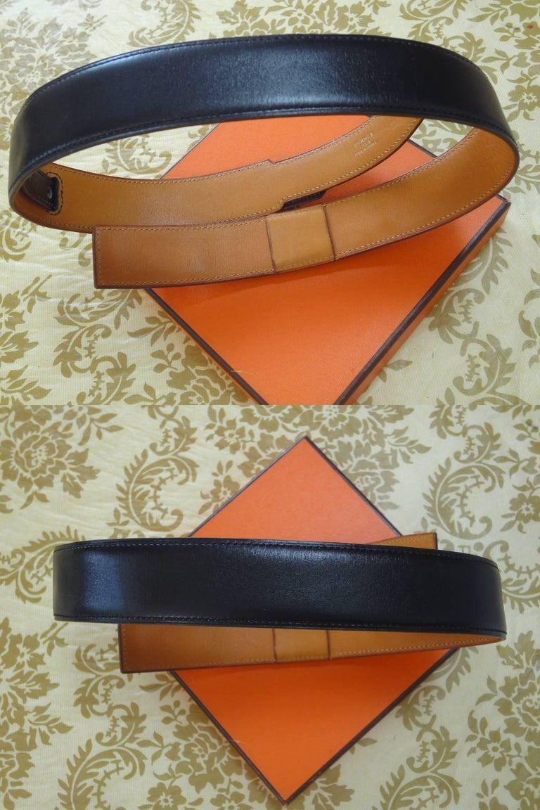 Women's or Men's MINT. Vintage HERMES black box calf leather Kelly belt. Stamp S in O, 1989. 65cm For Sale