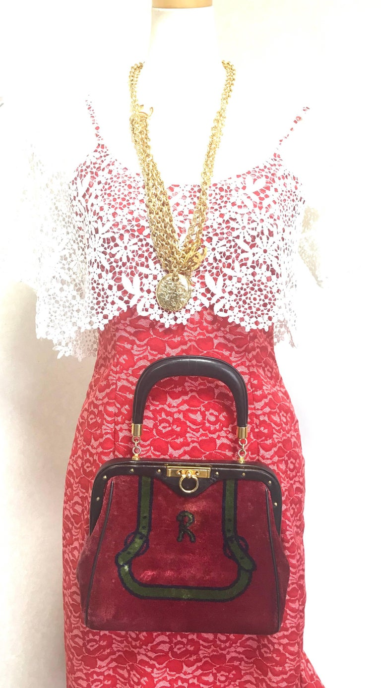 Roberta Di Camerino Vintage Red And Green Navy Bow And Logo Weaved Chenille Bag mLa9DO7