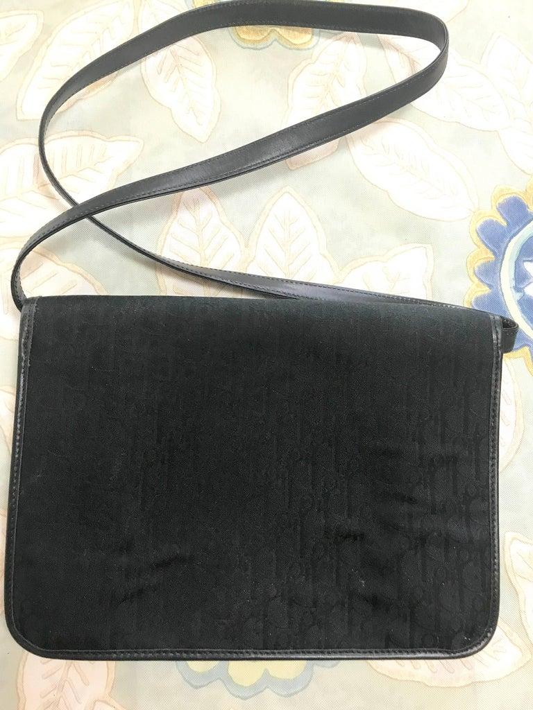 Black Vintage Christian Dior black logo jacquard shoulder bag, clutch with gold motif. For Sale