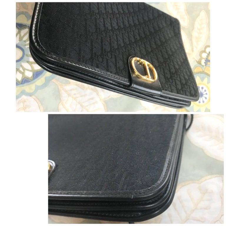 Women's Vintage Christian Dior black logo jacquard shoulder bag, clutch with gold motif. For Sale