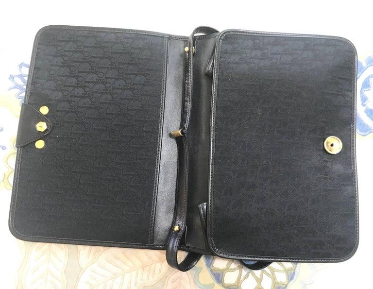 Vintage Christian Dior black logo jacquard shoulder bag, clutch with gold motif. For Sale 2