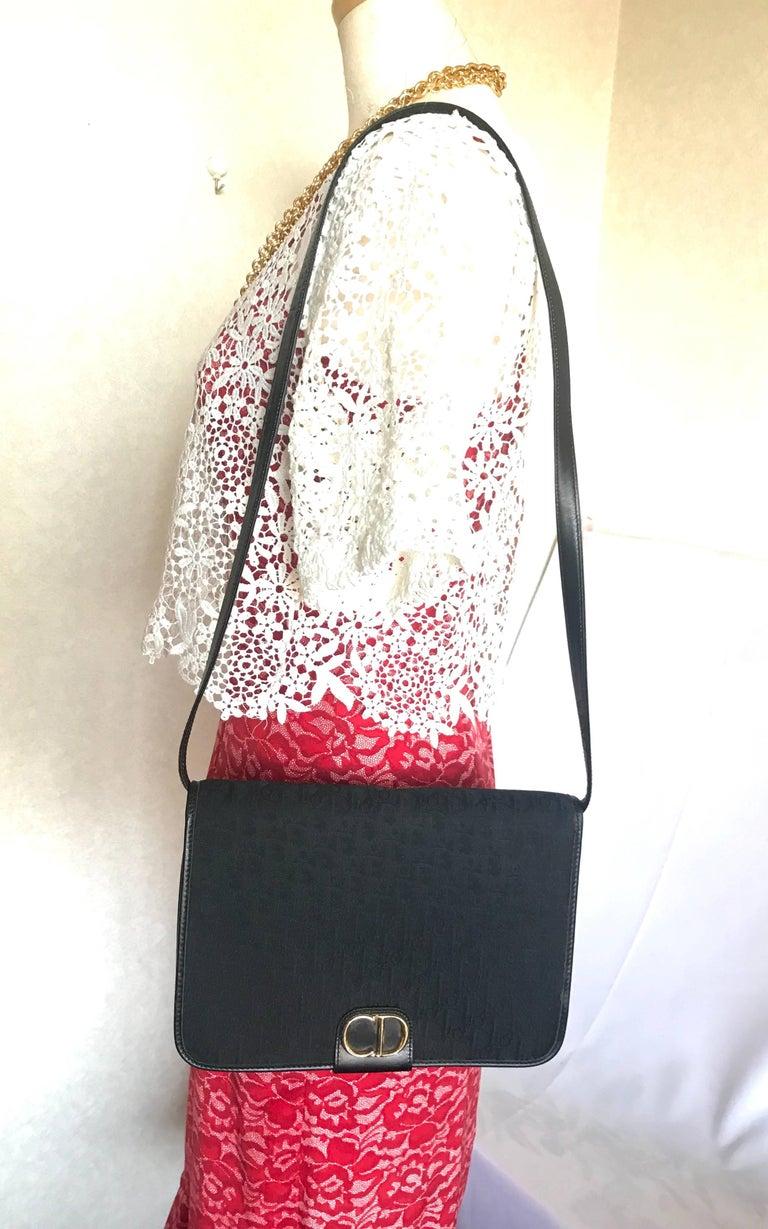 Vintage Christian Dior black logo jacquard shoulder bag, clutch with gold motif. For Sale 5