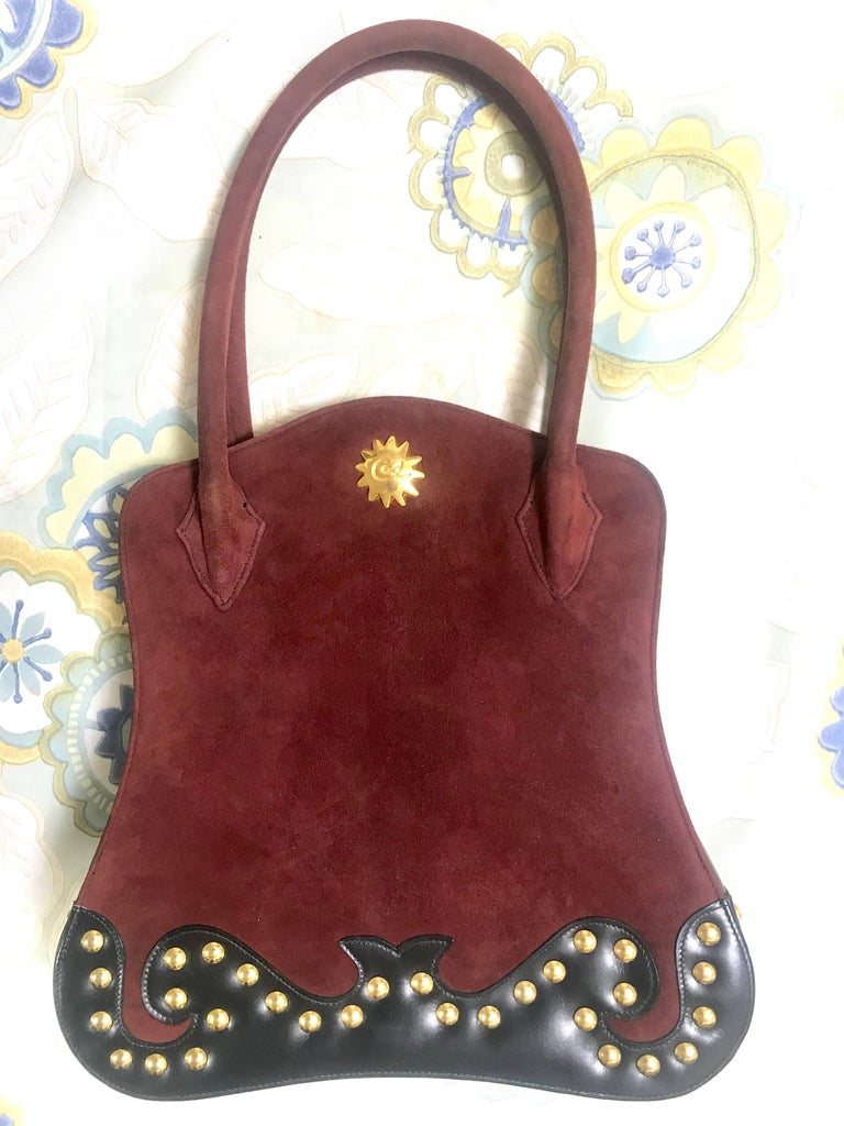 Christian Lacroix Vintage Christian Lacroix Wine Brown Suede Black Leather Sexy Feminine Shape Bag aWg08mW2J