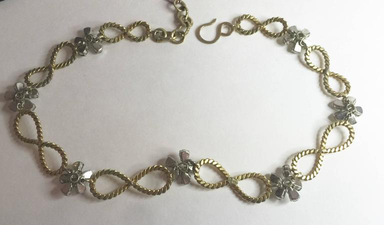 Women's 1950's CHRISTIAN DIOR Braided Looped and Floral Rhinestone Necklace 1958 For Sale