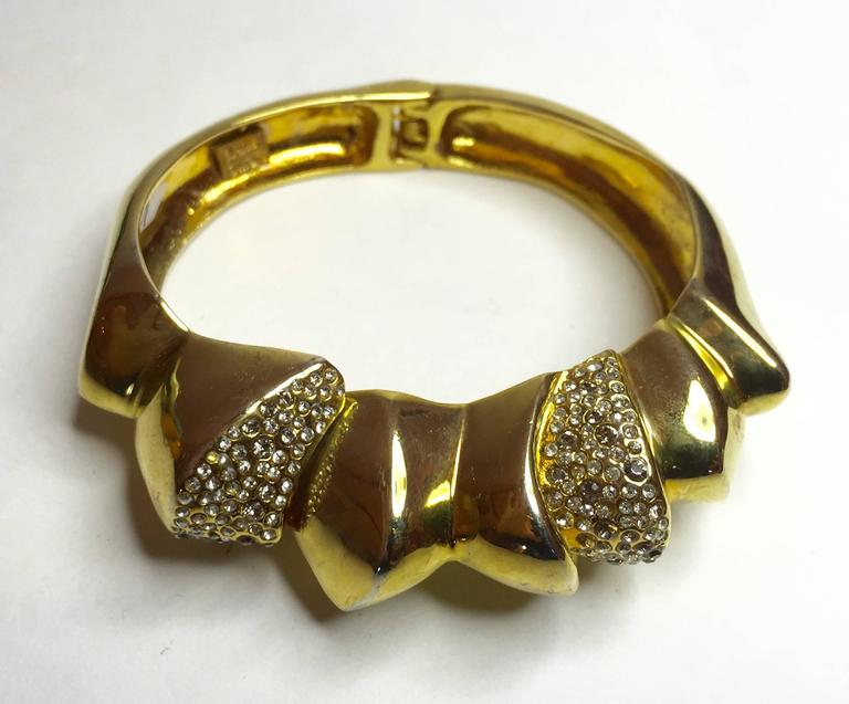 21st Century Alexis Bittar Unusual Goldtone Hinged Bracelet In Excellent Condition For Sale In Palm Springs, CA