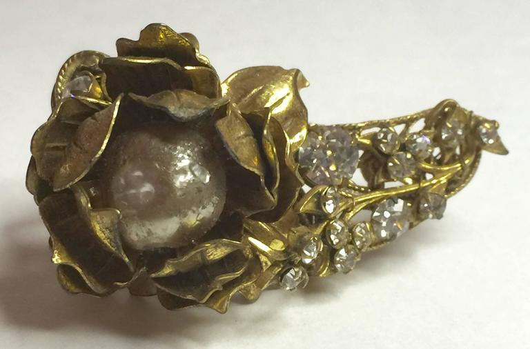 1950s MIRIAM HASKELL Baroque Pearl and Montee Brooch Pin In Good Condition For Sale In Palm Springs, CA