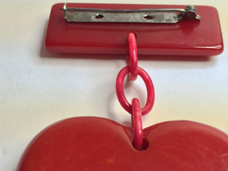 1930s RED Bakelite Suspended Heart from Bar Pin Brooch 3
