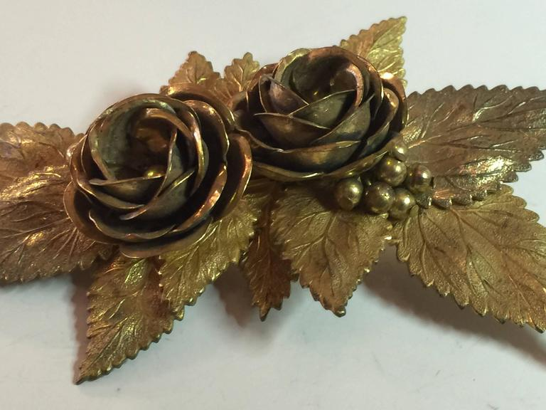 Large 1940s MIRIAM HASKELL Antiqued Goldtone Floral Brooch/ Pin In Excellent Condition For Sale In Palm Springs, CA